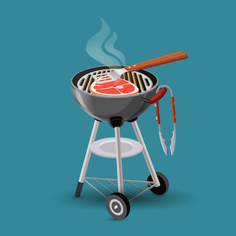 青で隔離の漫画スタイルのバーベキューグリルアイコンで揚げた肉。ポータブルグリルでの大きなステーキ料理。肉の上に横たわっている木製のハンドルを持つヘラ。図