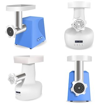 Meat grinder icons set, realistic style
