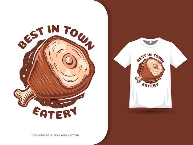 Мясо рисованной красочный мультфильм еда логотип и дизайн футболки