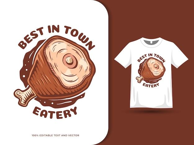 Meat hand drawn colorful cartoon food logo and tshirt design