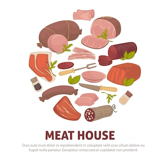 Meat house poster of  meat and sausages delicatessen icons