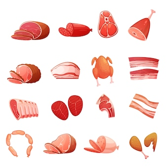 Meat icons set of gastronomic delicatessen with carbonate sausage frankfurters