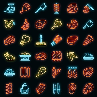 Meat icons set. outline set of meat vector icons neon color on black