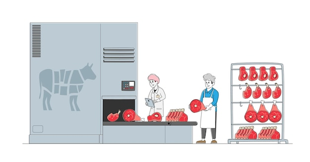 Meat manufacture concept. workers characters work on meat factory