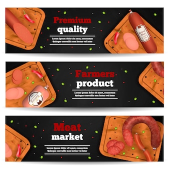 Meat market horizontal banners