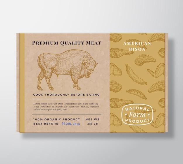 고기 패턴 현실적인 골 판지 상자 컨테이너입니다.