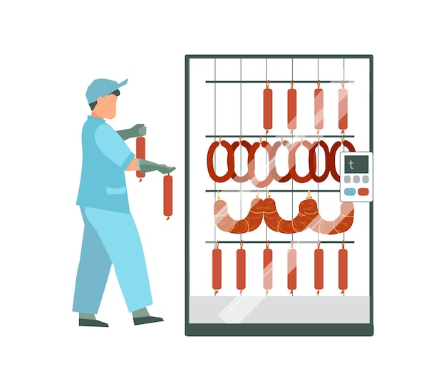 Meat processing plant flat illsutration with worker in uniform hanging meat products