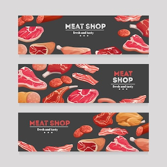 Meat product banners. beef and pork sausage, ham and salami, bacon. butchery meat banner vector set