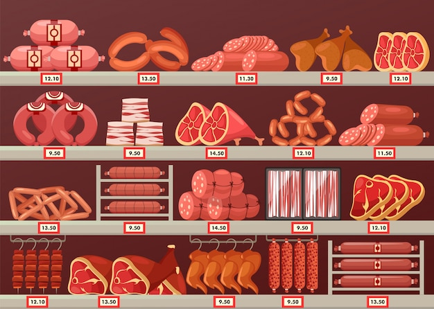 Meat product at butcher store or shop stall
