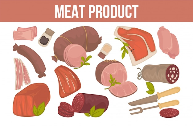 Meat product promotion banner with fresh animal origin food