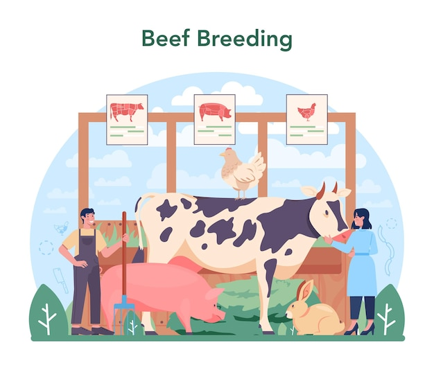 Meat production industry concept. butcher or meatman factory. animal breading for fresh meat and semi-finished products producing. isolated vector illustration