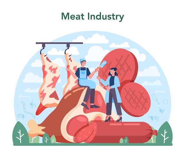 Концепция мясной промышленности мясник или фабрика мясников