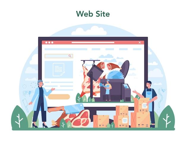 Meat production industry online service or platform. butcher or meatman factory. fresh meat producing. website. flat vector illustration