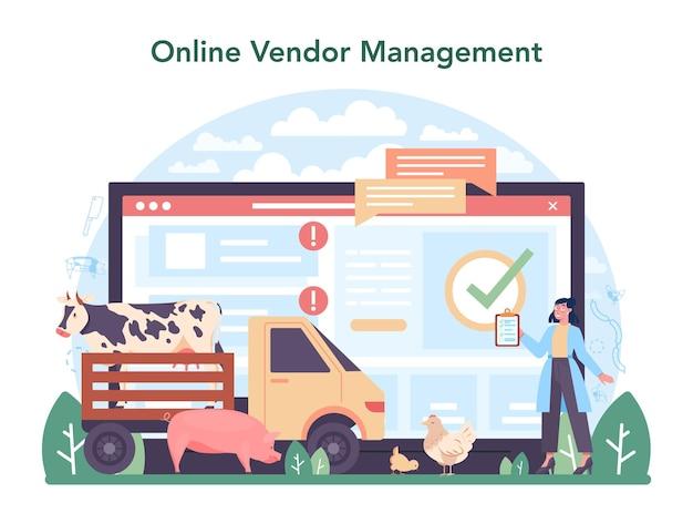 Meat production industry online service or platform. butcher