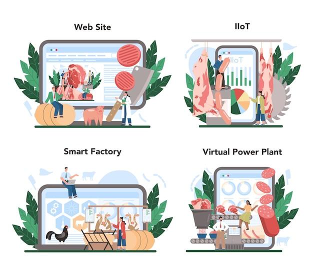 Meat production industry online service or platform set.