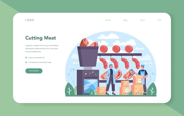 Meat production industry web banner or landing page. butcher