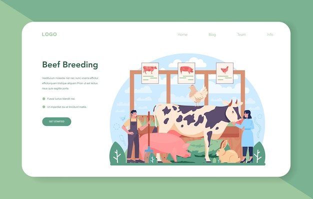 Meat production industry web banner or landing page butcher