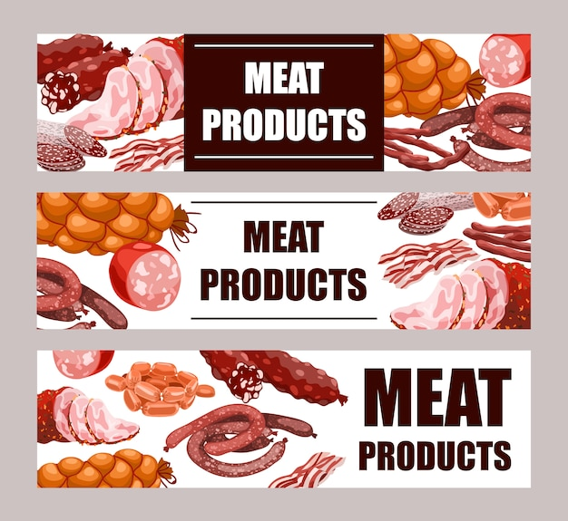 Meat products banner set