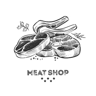 Meat products, fresh beafsteak and ribs hand drawn  illustration