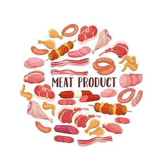 Мясные продукты в мультяшном стиле.
