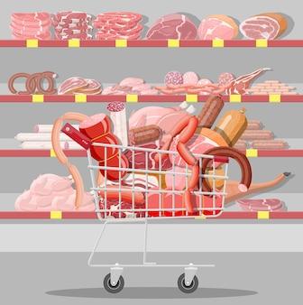 Мясные продукты в тележке супермаркета. счетчик витрины мясного магазина. продукт нарезки колбасы. деликатесный гастрономический продукт из говядины, свинины, курицы салями. векторная иллюстрация плоский стиль