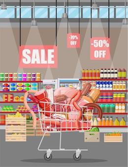 슈퍼마켓 카트에 있는 육류 제품. 고기 가게 정육점 쇼케이스 카운터. 소시지 슬라이스 제품. 쇠고기 돼지고기 닭고기 살라미 소시지의 델리카트슨 미식 제품. 벡터 일러스트 레이 션 평면 스타일