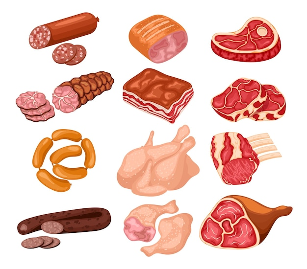 육류 제품 세트. 식품은 돼지 고기, 소고기, 양고기 또는 닭고기, 동물성 제품으로 구성됩니다.