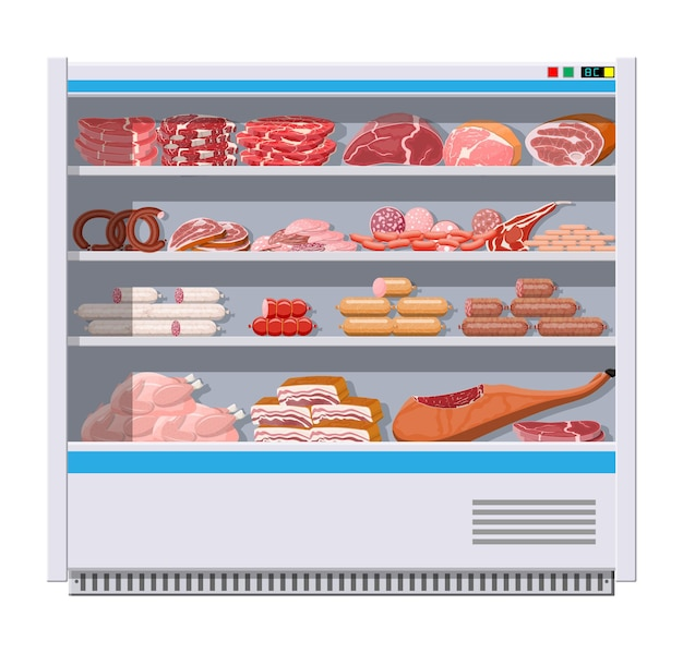 Meat products in supermarket fridge