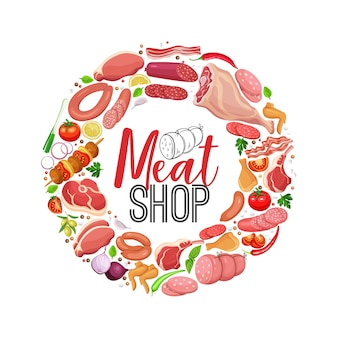 Meat products with vegetables and spices round banner
