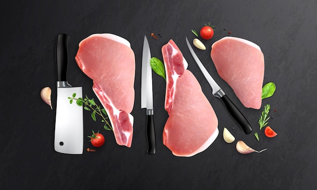 Meat realistic composition with top view of black table with knives of different size and steaks