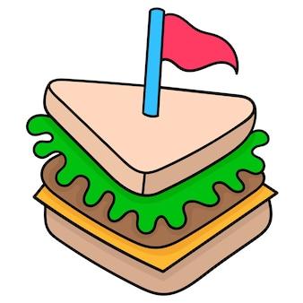 Meat sandwich bread food for breakfast. doodle icon drawing