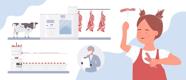 Meat sausages food industry production process with industrial equipment and workers