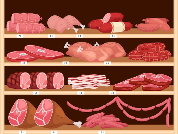 Meat on shelves. fresh sausages, vector pork ham and assorted raw beef meat in butchers shop
