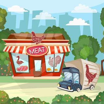 Meat shop cartoon butcher store facade building vector