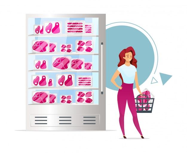 Meat shop showcase flat color  illustration.