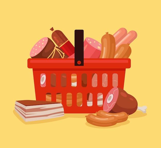 食べ物がいっぱい入った肉の買い物かご。新鮮な農場の肉。肉付きショッピングカート