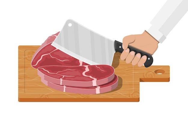 부엌 칼으로 나무 판자에 다진 고기 스테이크. 도마, 정육점 칼, 고기 조각. 기구, 가정용 칼. 요리, 가정용 주방용품. 평면 스타일의 벡터 일러스트 레이 션