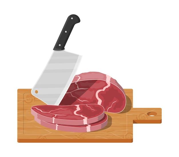 Meat steak chopped on wooden board with kitchen knife.