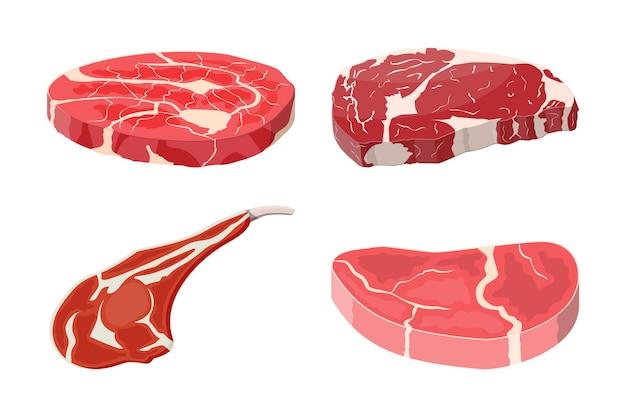 ミートステーキコレクション。ビーフテンダーロイン。ポークナックル。ステーキのスライス、新鮮な肉。未調理のポークチョップ。フラットスタイルのベクトル図