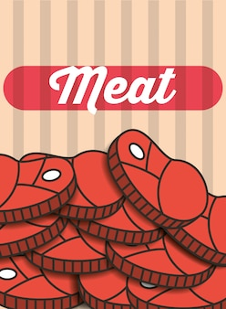 Мясо стейк кусочки меню ресторан плакат