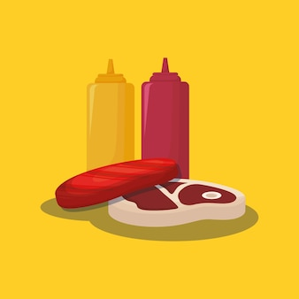 Meat steak and sauce bottles over yellow background
