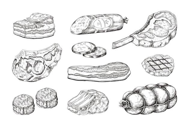 肉ステーキ。肉屋の製品、ポークハムベーコンラムリブ、ビーフステーキを使ったヴィンテージ料理のスケッチ。手描き生カッティンググリルメニュー