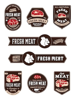 Meat store labels with steak and farm animals icons