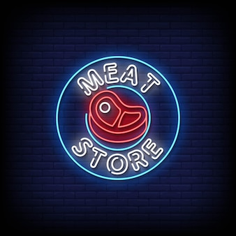 Meat store neon signs style text vector
