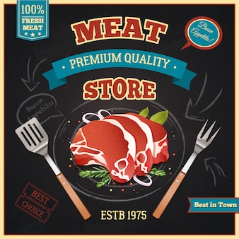 Meat store poster