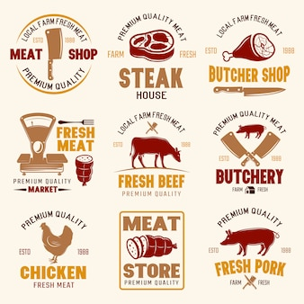 Meat store retro style emblems