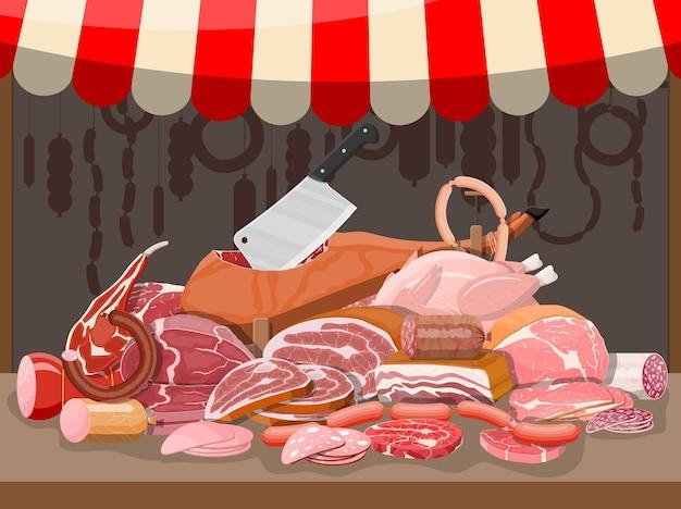 고기 거리 시장. 고기 가게 매점. 정육점 또는 쇼케이스 카운터. 소시지 슬라이스 제품. 쇠고기 돼지고기 닭고기의 델리카트슨 미식 제품. 페퍼로니 살라미. 벡터 일러스트 레이 션 평면 스타일