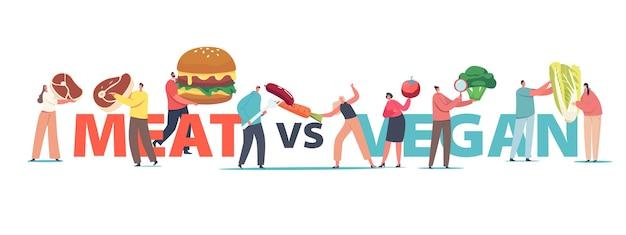 Мясо против концепции веганской еды. крошечные мужские или женские персонажи с огромными здоровыми и нездоровыми продуктами, мясом, овощами и плакатом, баннером или флаером быстрого питания. мультфильм люди векторные иллюстрации