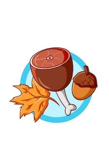 Meat with autumn leaves in the oktoberfest cartoon illustration