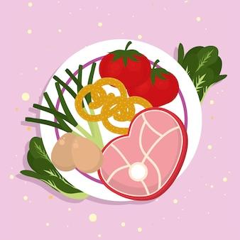 ピンクの背景に食べ物のアイコンと肉